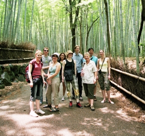 An InsideJapan Tours' group in the Arashiyama bamboo groves