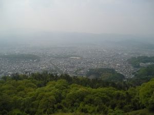 Daimonji Mountain in the distance and the view from the top