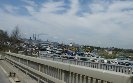 Piles of scrap cars