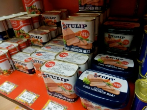 Varieties of luncheon meat for sale