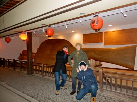 Adam, Mum, Wolfie, and the world's largest rice paddle.