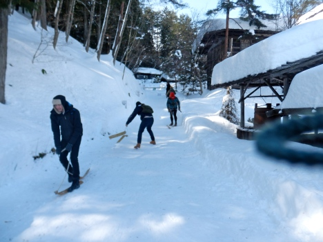 Testing the skis at Hida no Sato Folk Village
