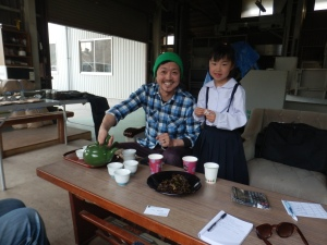 Having tea with Mr Shimoyama and his daughter
