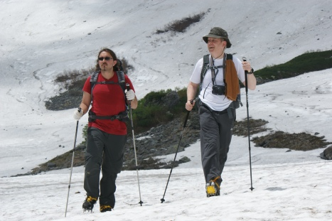 Then its crampons on and hiking over snowfield for several hundred metres