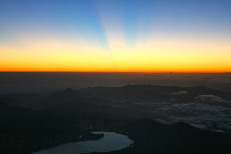 "Here comes the sun - on top of the ""Land of the Rising Sun"" (3776m) - what everyone has hiked up Mt Fuji to see. The breaking of a new day from above."