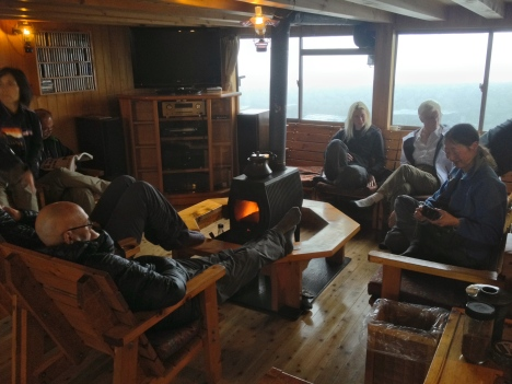 The lounge area in Hotaka mountain hut is the perfect place to get talking to local hikers, and warm up, after a tough day on the trail.