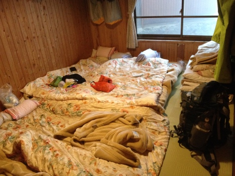 My Hotaka Hut bedroom - futon and quilts on a tatami (rush straw mat) floor - cosy and warm  - we were lucky having a 6 person room to just 4 of us.