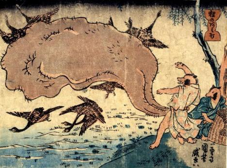 Traditional art depicting a tanuki whose large scrotum is being attacked by birds for some reason I wish I understood