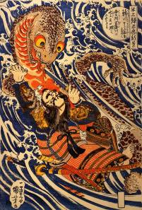 Traditional ukiyo-e woodblock print of a giant salamander being vanquished by a samurai