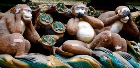 The famous three wise monkeys of Toshogu Shrine, Nikko