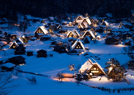 Shirakawago illuminated in the winter
