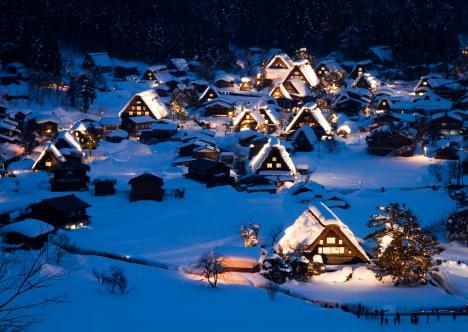 Shirakawago illuminated in the winter