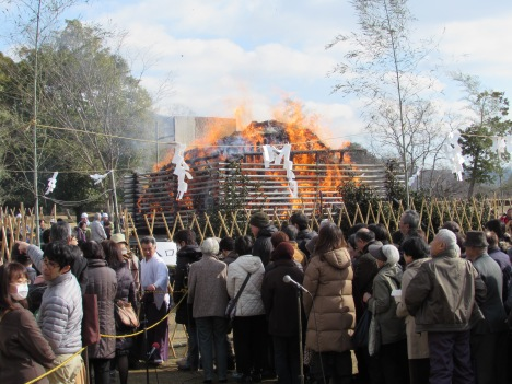The next event in the festival schedule takes place at a big bonfire, the fuel for which is provided by members of the public bringing their New Year's decorations from their recently completed winter festivities to be burnt.