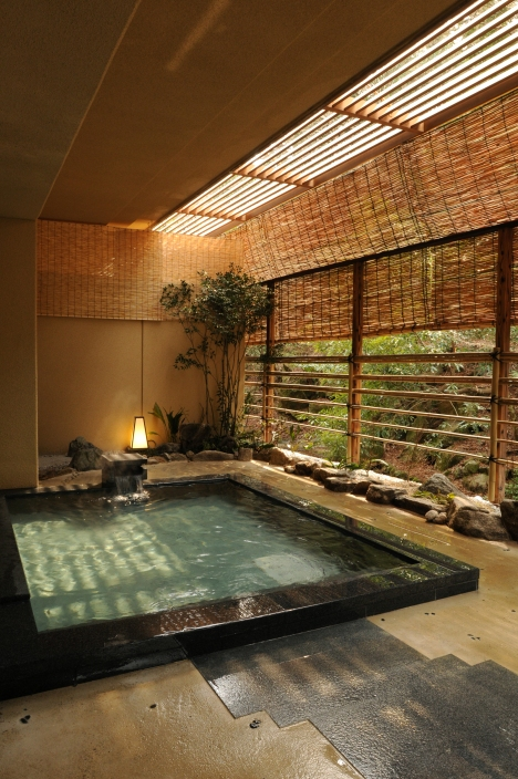 onsen hot spring bath at the Iwaso ryokan