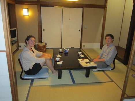 InsideJapan's Enfys and Matt enjoying tea at the Yumoto Kansuiro on a recent visit