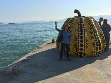 Yayoi Kusama's yellow pumpkin on Naoshima Island