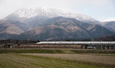 Shinkansen in rural setting