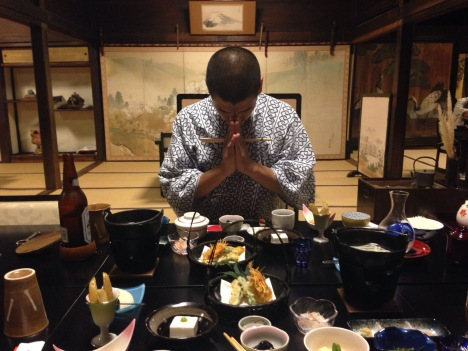 William prepares to tuck into a beautiful kaiseki meal