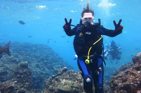 Enjoying some scuba diving off Okinawa main island