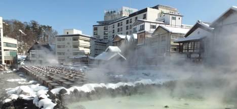 Yubatake at the centre of Kusatsu Onsen