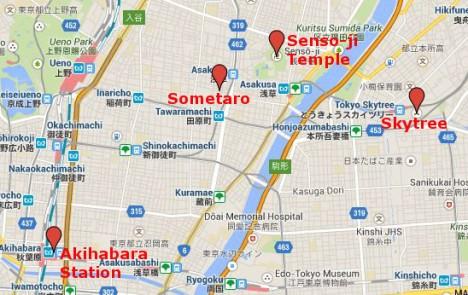 Map of Asakusa & Akihabara