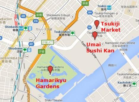 Map of Tsukiji area